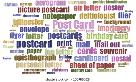 Post Card Word Cloud Aligned Isolated