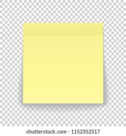 Post note paper sheet or sticky sticker with shadow isolated on a transparent background. yellow post office memo or remember notepaper for your design.