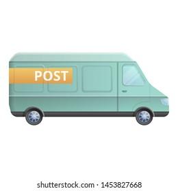 Post van icon. Cartoon of post van icon for web design isolated on white background