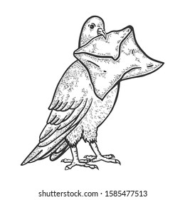 Postal dove pigeon with letter sketch engraving raster illustration. T-shirt apparel print design. Scratch board style imitation. Black and white hand drawn image.