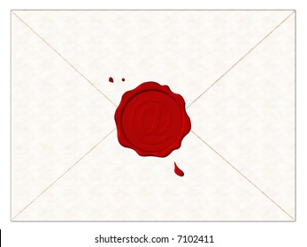 Postal envelope with red seal and symbol e-mail (at).