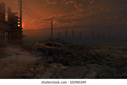 Post-apocalyptic scenery with ruins