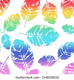 Postcard with colored rainbow leaves on white background, seamless pattern, for material, postcards, invitations, greeting cards, clothes, paper, holiday, wallpaper, textile. Painted in watercolor