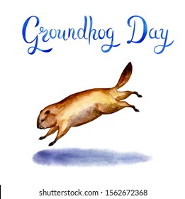 """Postcard to the Groundhog Day. Running groundhog and its shadow and the inscription: """"Groundhog Day"""", watercolor illustration on a white background."""