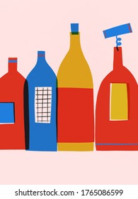 Postcard illustration of colorful glass wine bottles. Red, blue, yellow illustration bottles wine modern style. Decor wall kitchen. Provance wine on a pink background in abstract style