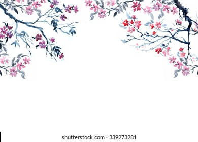 Postcard with the image of cherry and flowers sakura, spring blossom branch and flowers tree.