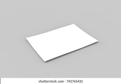 Postcard Invitation Greeting Card Mock-Up Template On Isolated White Background, Ready For Your Design, 3D Illustration