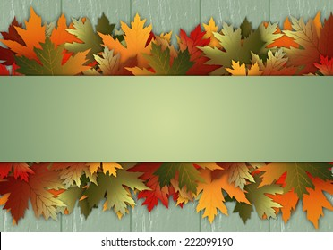 Postcard with leaves