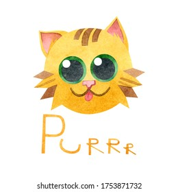 A postcard with a purring cat. Hand-drawn watercolor inscription and illustration with a funny purring kitten on a white background. For posters, t-shirts, textiles, printing, postcards, stickers.