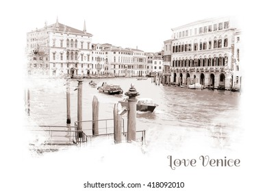 Postcard - View of the Grand Canal Venice, Italy, Watercolor effect