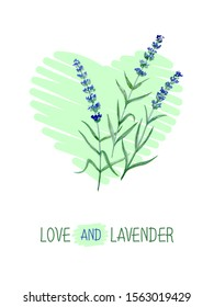 POSTCARD WITH WATERCOLOR LAVENDER AND GREEN HEART