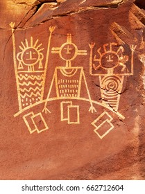 Poster or ad concept using primitive line drawings on sandstone of three people playing blackjack.