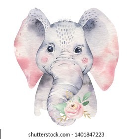 A poster with a baby elephant. Watercolor cartoon elephant tropical animal illustration. Jungle exotic summer design