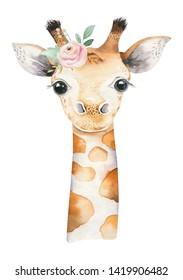 A poster with a baby giraffe. Watercolor cartoon giraffetropical animal illustration. Jungle exotic summer design