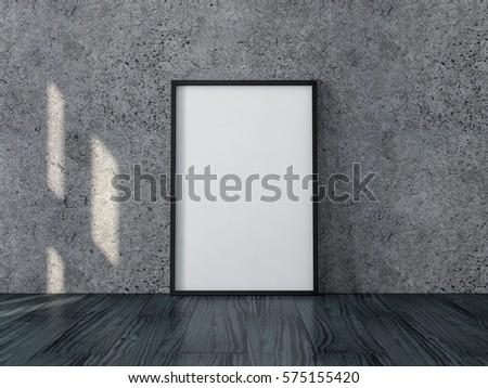poster black frame canvas mockup standing stock illustration
