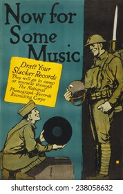 Poster by Charles Buckles, World War I soldier about to play a record, titled 'Now for some music', by Charles Buckles, ca 1917.