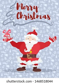 poster with christmas santa congratulates with a gift. stock picture image. stock picture image