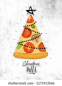 Poster christmas tree pizza with star on top with lettering drawing on dirty paper background.