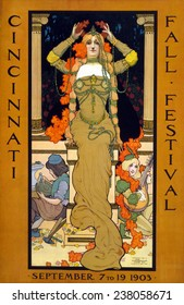 Poster for the Cincinnati Fall Festival, showing a woman seated on a pedestal placing a wreath on her head and wearing art nouveau jewelry, by Stanley Thomas Clough, September 7 to 19, 1903.