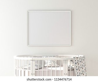 Poster frame mockup on wall with oval crib 3d rendering