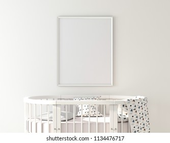 Poster frame mockup with oval crib 3d rendering