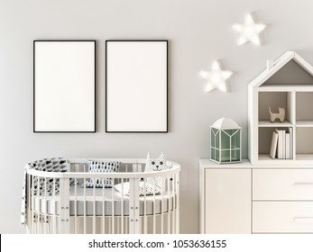 Poster frame mockup in scandinavian style, newborn bedroom 3d rendering