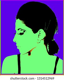 Poster with girl over purple background in pop art style