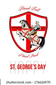 Poster greeting card Illustration of knight in full armor riding a horse armed with lance with England English flag in background done in retro style with words Stand Tall, Happy St. George's Day.