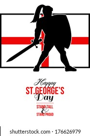 Poster greeting card Illustration of knight in full armor with sword and shield with England English flag done in retro style with words Happy St. George's Stand Tall and Proud.