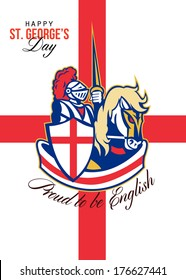 Poster greeting card Illustration of knight in full armor riding a horse armed with lance with England English flag in background done in retro style words Happy St. George's Day Proud to Be English.
