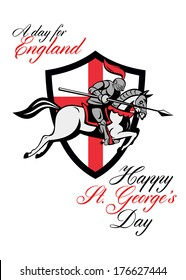 Poster greeting card Illustration of knight in full armor riding a horse armed lance with England English flag in background done in retro style with words A Day For England Happy St. George's Day.