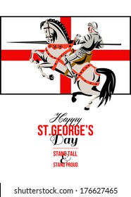 Poster greeting card Illustration of knight in full armor riding a horse armed with lance with England English flag background done in retro style words Stand Tall Stand Proud  Happy St. George's Day.