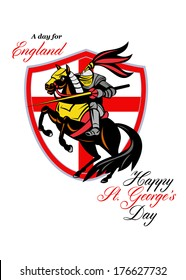 Poster greeting card Illustration of knight in full armor riding a horse armed with lance with England English flag in background retro style with words A Day For England Happy St. George's Day.