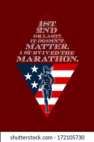 Poster greeting card illustration showing a female marathon runner front view with american stars and stripes flag in background done in retro style with words Achieve something, Run the Marathon.