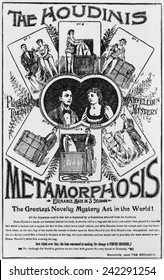 Poster of the Houdinis performing METAMORPHOSIS, one of their early signature acts. Ca. 1895.