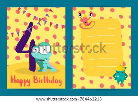 Poster Kids Happy Birthday Card Cute Stock Illustration 784462213