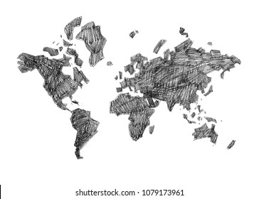 Poster map Black and white. Rrint map for t-shirt, poster or geographic themes. Hand-drawn black map.
