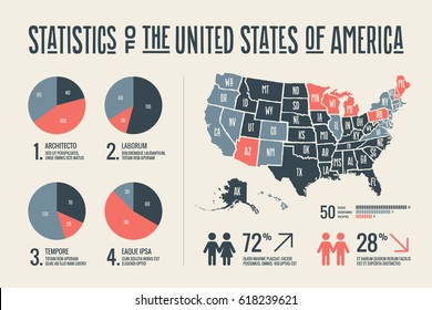 Poster map of United States of America with state names and abstract infographics elements. Detail modern infographic with map of USA, social infographics and information graphics. Illustration