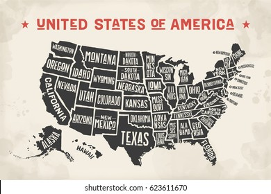Poster map of United States of America with state names. Black and white print map of USA for t-shirt, poster or geographic themes. Hand-drawn black map with states. Illustration
