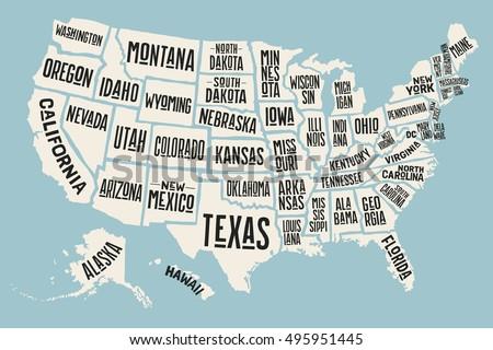 Poster Map United States America State Stockillustration 495951445 ...