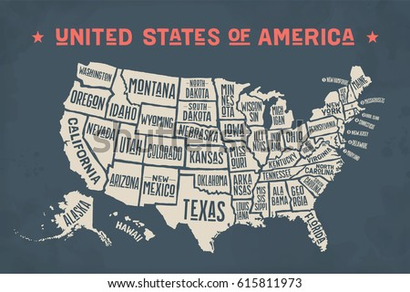 Poster Map United States America State Stockillustration 615811973 ...