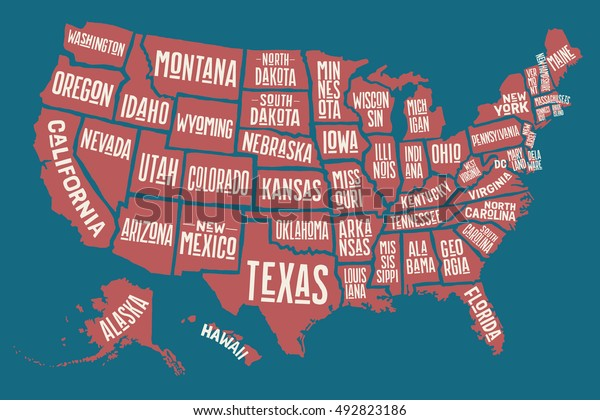 Poster Map United States America State Stockillustration 492823186