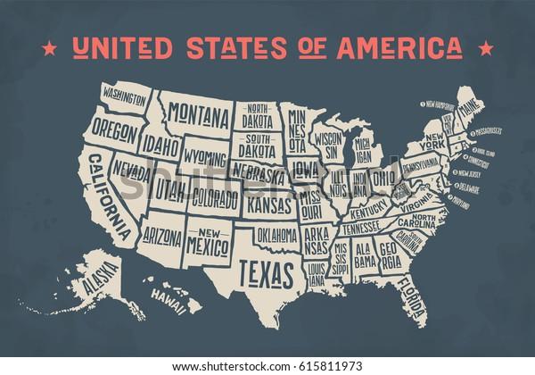 Poster Map United States America State Stockillustration ...