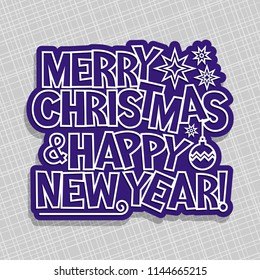 poster for merry christmas new year holidays original handwritten calligraphy font for text merry