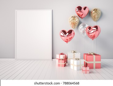 Poster mock up with pink and golden glossy 3d realistic balloons in heart shape with stick. Valentine's Day or wedding day romantic themes for party, events, presentation or promotion banner, posters.