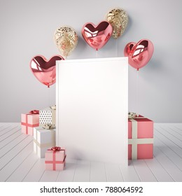 Poster mock up with pink and golden glossy 3d realistic balloons in heart shape with stick. Valentine's Day or wedding day romantic themes for party, events, social media or promotion banner, posters.