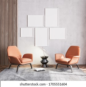 Poster mock up of Scandinavian interior design of orange living room with couch furniture on beige background with wooden wall stripes, wood empty frames and black table. .3D render,3D illustration
