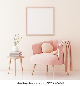 Poster mock up with square frame on empty beige wall in living room interior with pastel coral pink armchair and plant on table. 3D rendering.