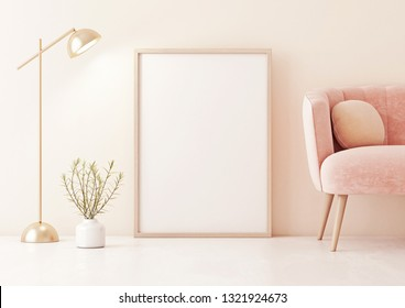 Poster mock up with vertical frame standing on floor in living room interior with pastel coral pink sofa, lamp and plant in vase on beige wall background. 3D rendering.