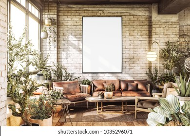 Poster Mockup in Cozy Loft Interior with plants. 3D rendering